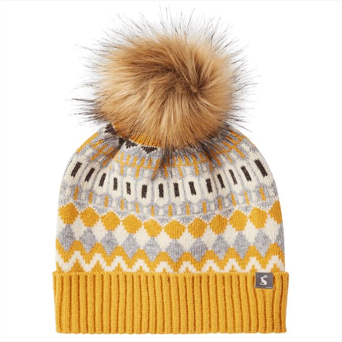 Joules Swirlton Fairisle Faux Fur Pom Pom Beanie Hat