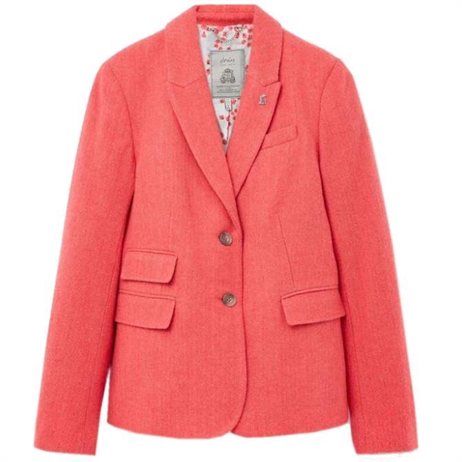 Joules Wiscombe Tweed Blazer in Red Herringbone
