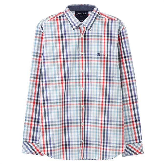 Joules Hewney Classic Fit Checked Peached Poplin Shirt