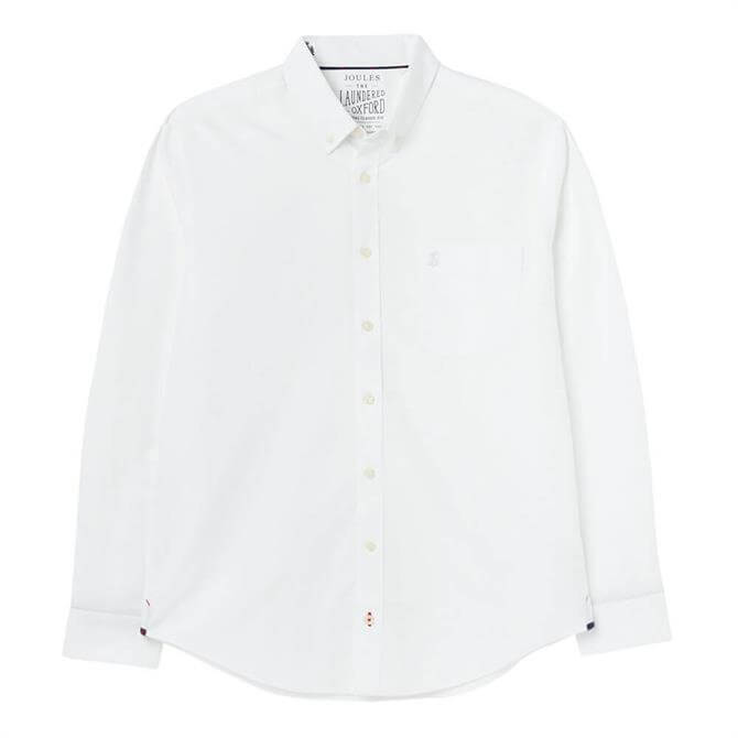 Joules White Laundered Oxford Long Sleeve Classic Fit Shirt