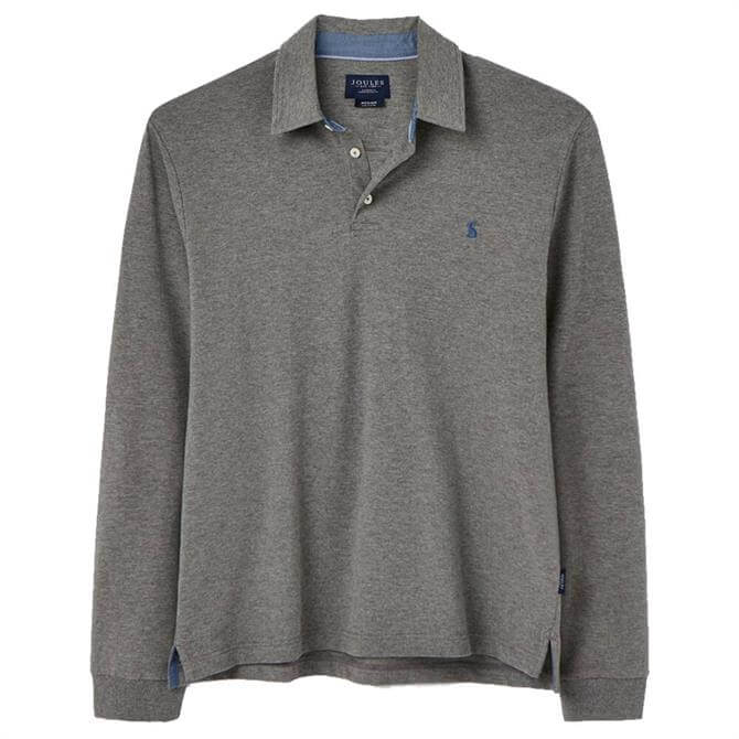 Joules Grey Marl Woodwell Long Sleeve Polo Shirt