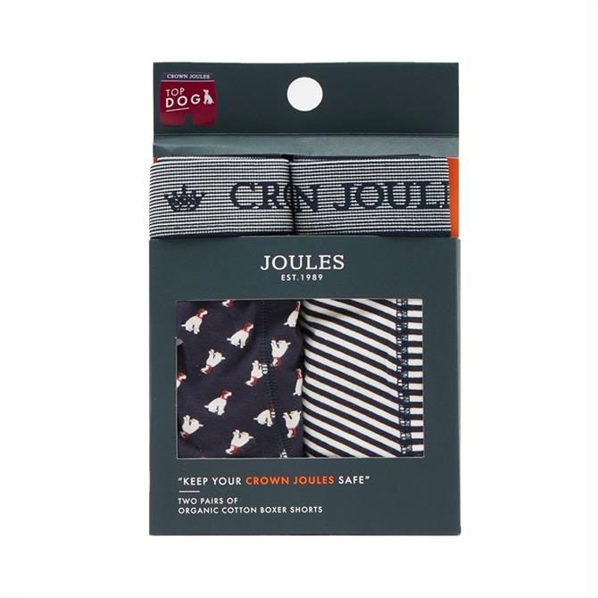 Joules 2 Pack Crown Joules Print Boxers