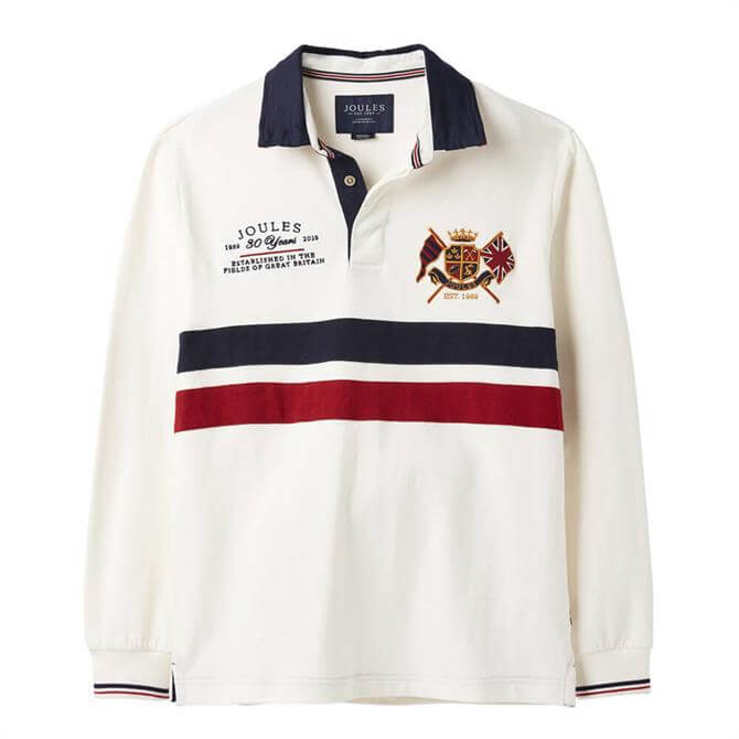 Joules 30th Anniversary Rugby Shirt in Antique Creme