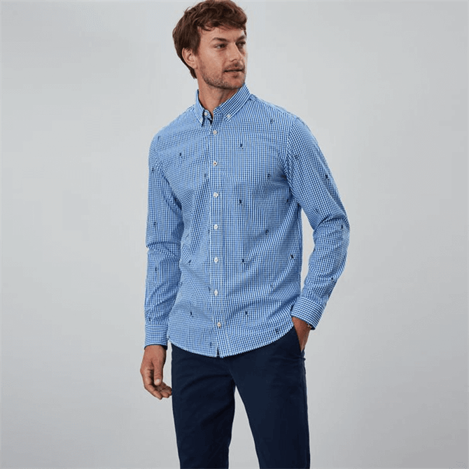 Joules Coleridge Long Sleeve Classic Fit Printed Shirt - Blue Rugby Check