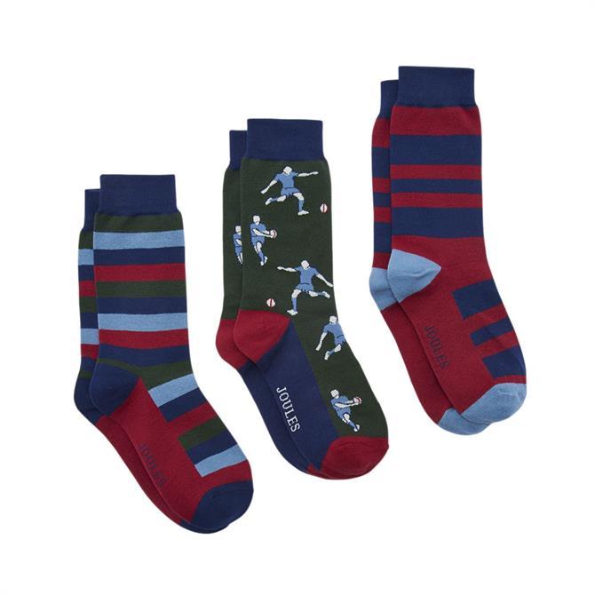 Joules Striking 3 Pack Ankle Socks