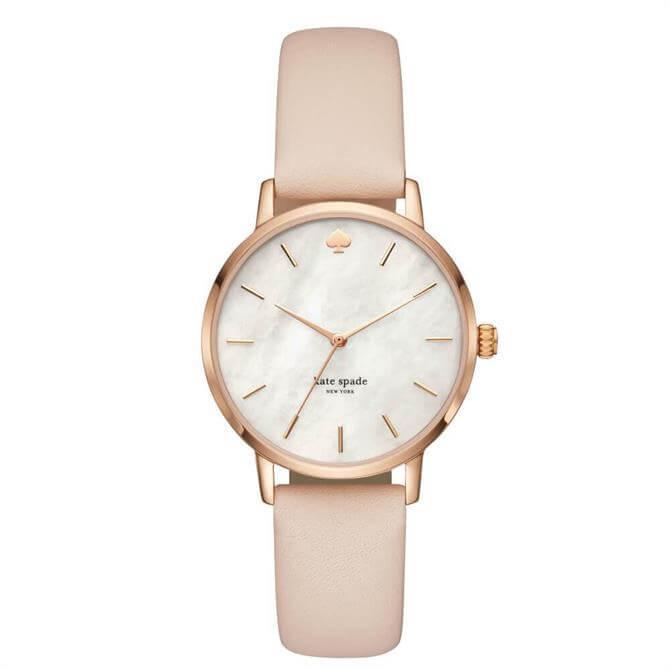 Kate Spade New York Rose Gold Tone & Vachetta Leather Metro Watch