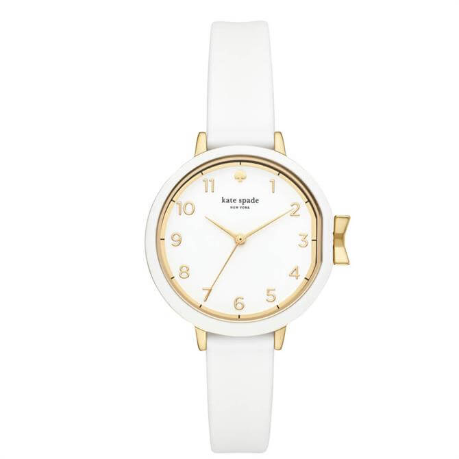Kate Spade New York Gold Tone & White Silicone Park Row Watch