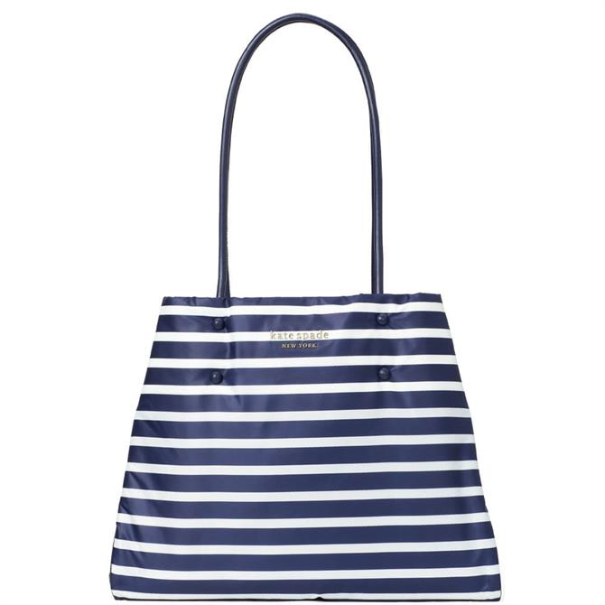 Kate Spade New York Everything Puffy Large Blue Striped Tote Bag