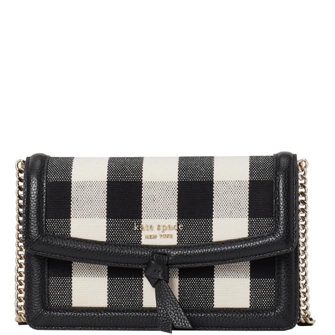 Kate Spade New York Knott Flap Black Gingham Crossbody Bag