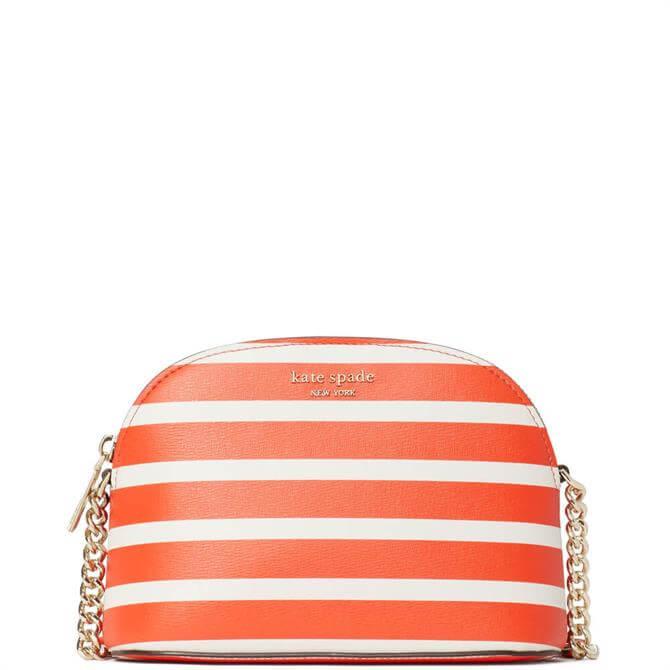 Kate Spade New York Spencer Orange Stripe Small Dome Crossbody Bag