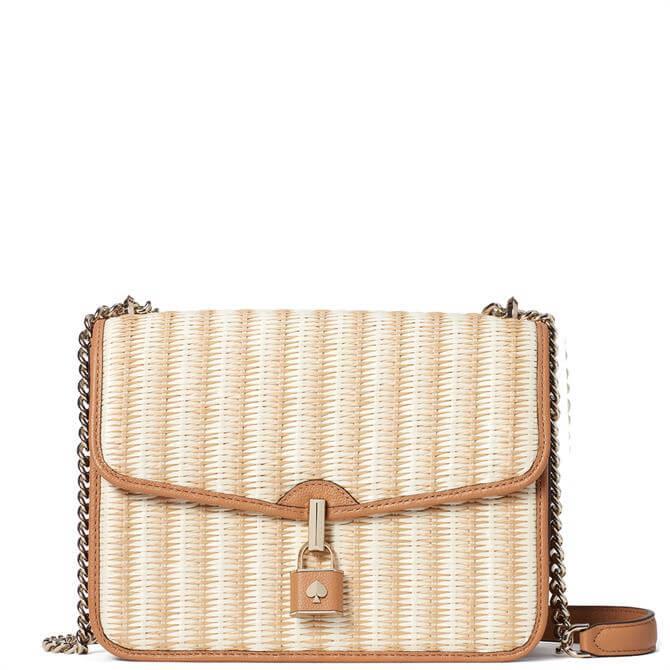 Kate Spade New York Spade Locket Straw Large Flap Shoulder Bag