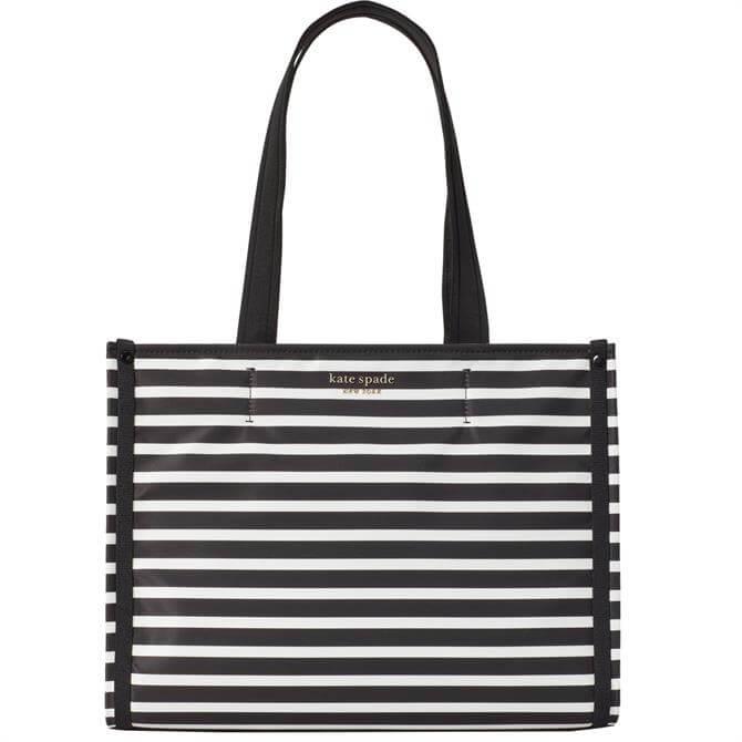 Kate Spade New York The Little Better Sam Black Striped Medium Tote Bag