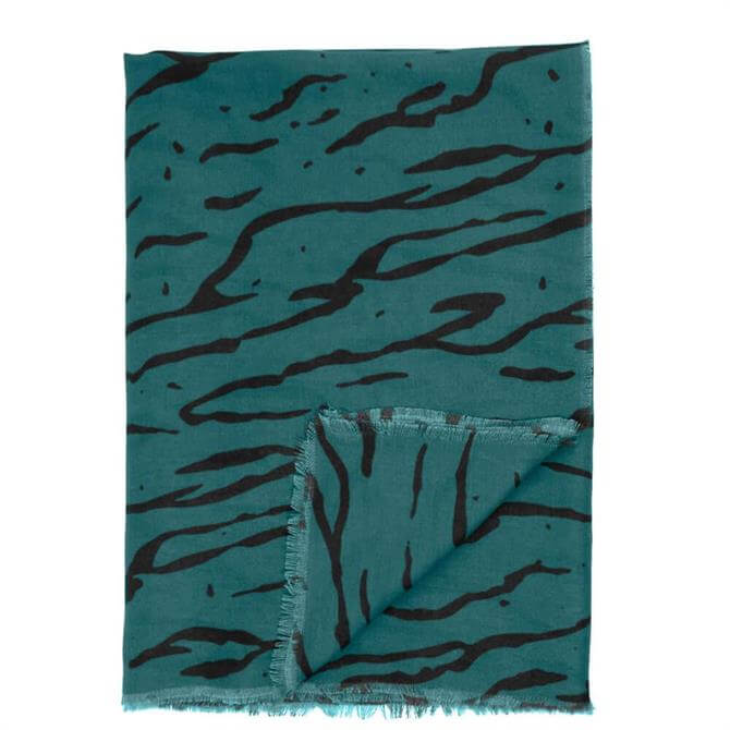 Katie Loxton Teal Zebra Print Scarf