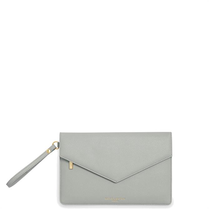 Katie Loxton Esme 'Be Happy Be Bright Be You' Grey Envelope Clutch Bag
