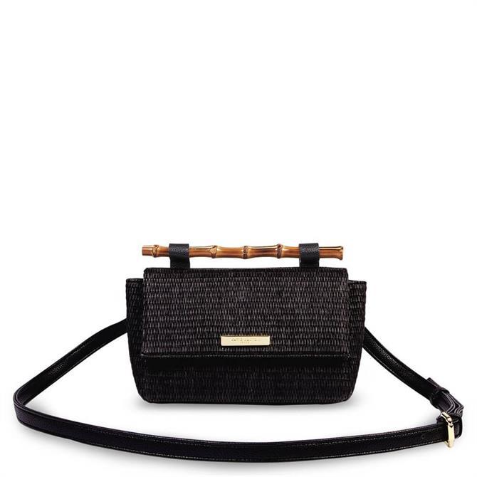Katie Loxton Gigi Straw Bamboo Handle Black Crossbody Bag
