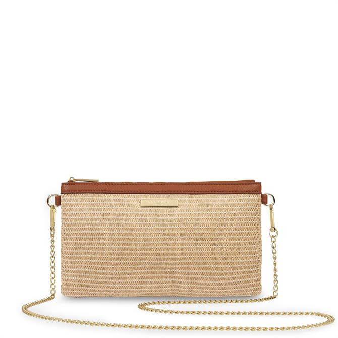 Katie Loxton Freya Straw Brown Crossbody Bag
