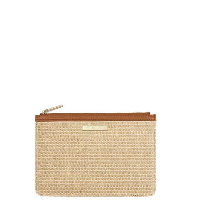 Katie Loxton Brown Straw Pouch