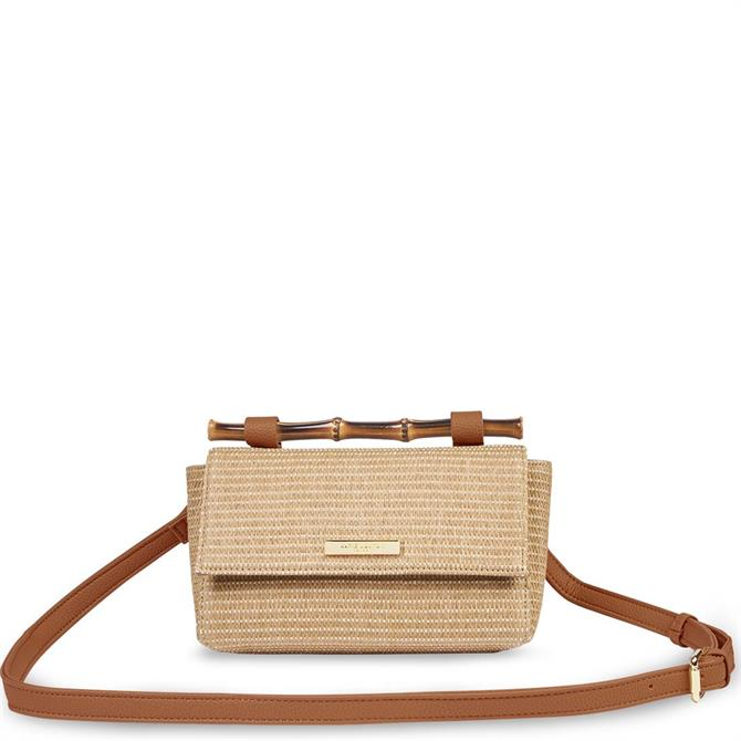 Katie Loxton Gigi Straw Bamboo Handle Taupe Crossbody Bag