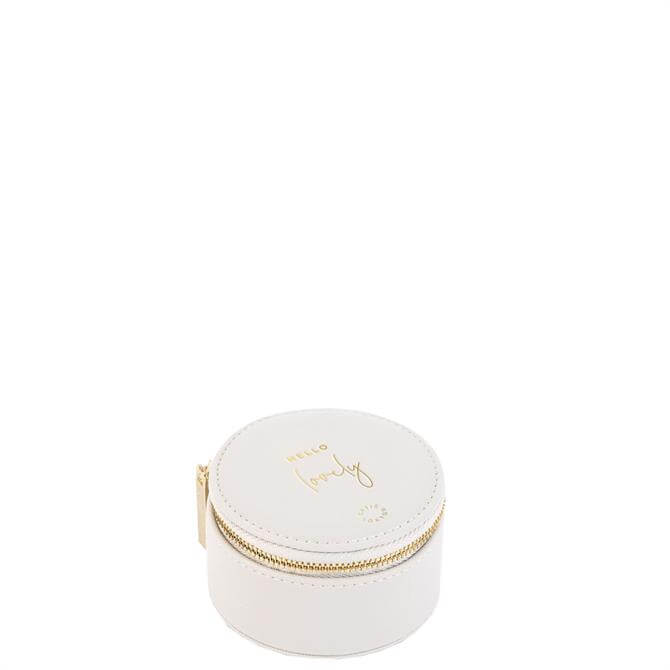 Katie Loxton 'Hello Lovely' White Small Circle Jewellery Box