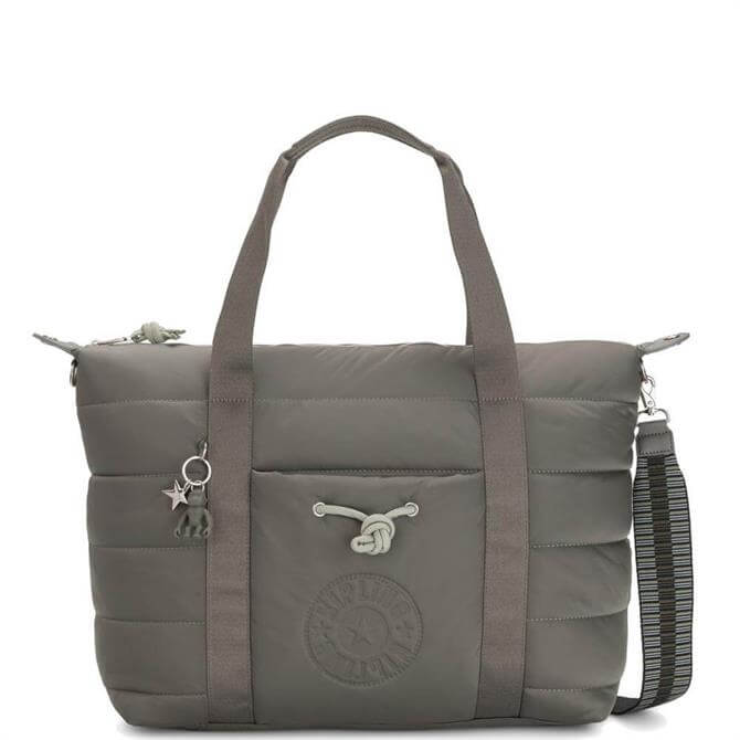 Kipling Mountain Grey Puff Art Puff Effect Medium Tote Bag
