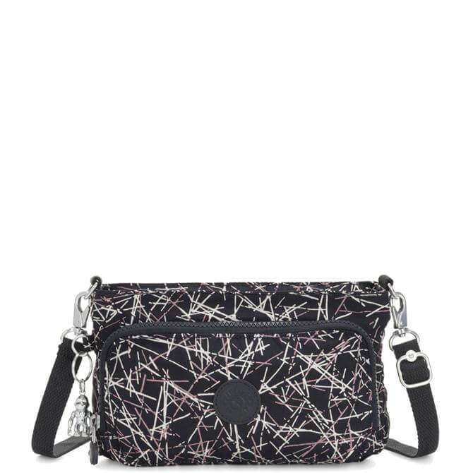 Kipling Navy Stick Print Myrte Small 2 in 1 Crossbody and Pouch