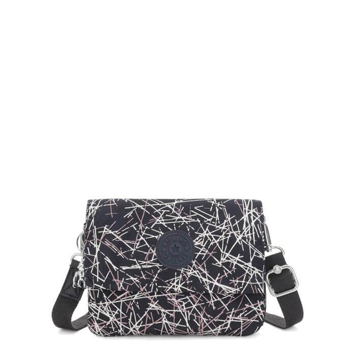 Kipling Navy Stick Print Osyka 2 in 1 Crossbody and Pouch
