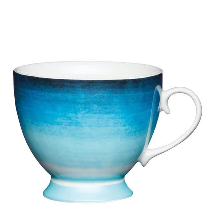 KitchenCraft Bone China Blue Ombre Stripe Footed Mug