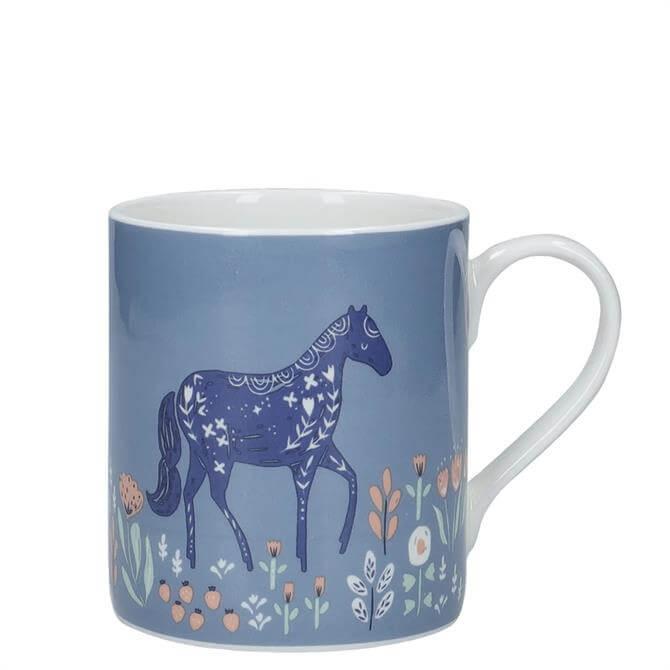 KitchenCraft Fine Bone China Woodcut Horse Can Mug