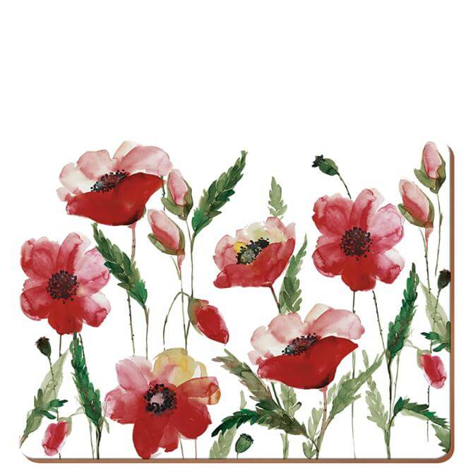 Creative Tops Set of 6 Watercolour Poppies Placemats