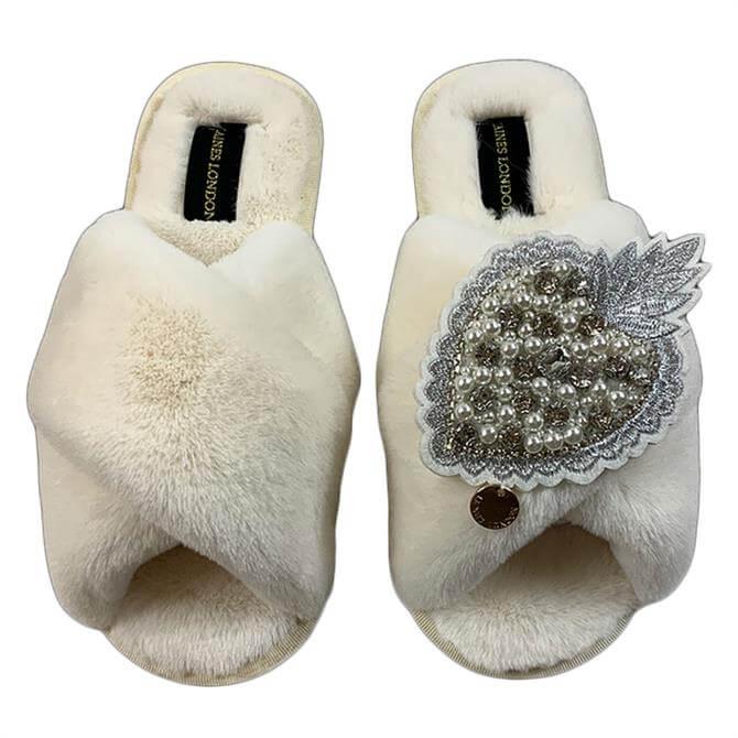 Laines London Pearl & Diamond Heart Slippers