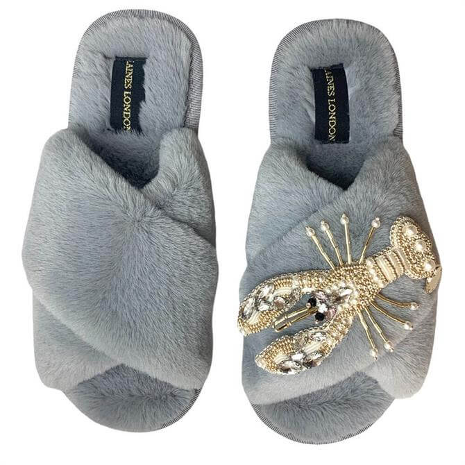 Laines London Lobster Brooch Slippers