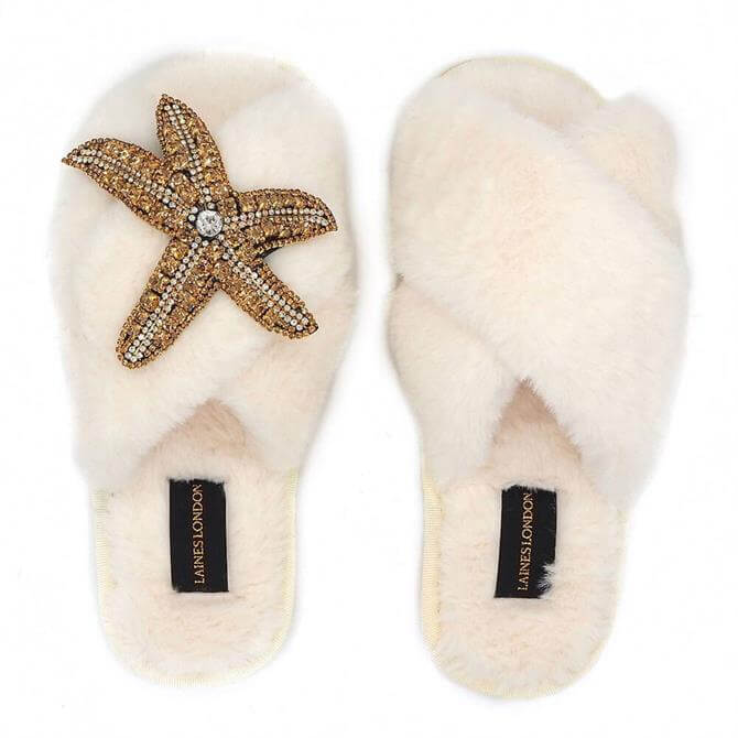 Laines London Fluffy Starfish Brooch Slippers