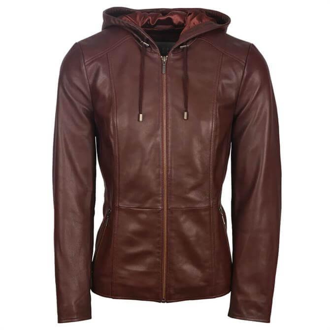 Lakeland Leather Abbeyville Hooded Leather Jacket in Burgundy