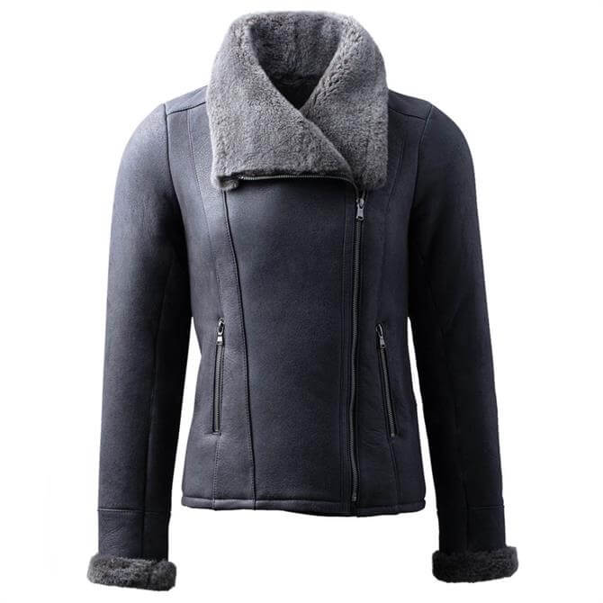 Lakeland Leather Allerby II Sheepskin Aviator Jacket in Charcoal