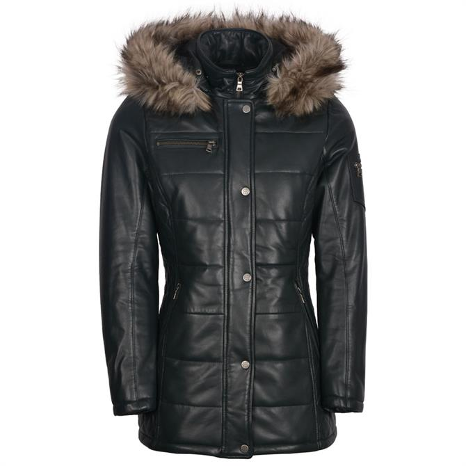 Lakeland Leather Fairfield Hooded Padded Leather Coat in Navy