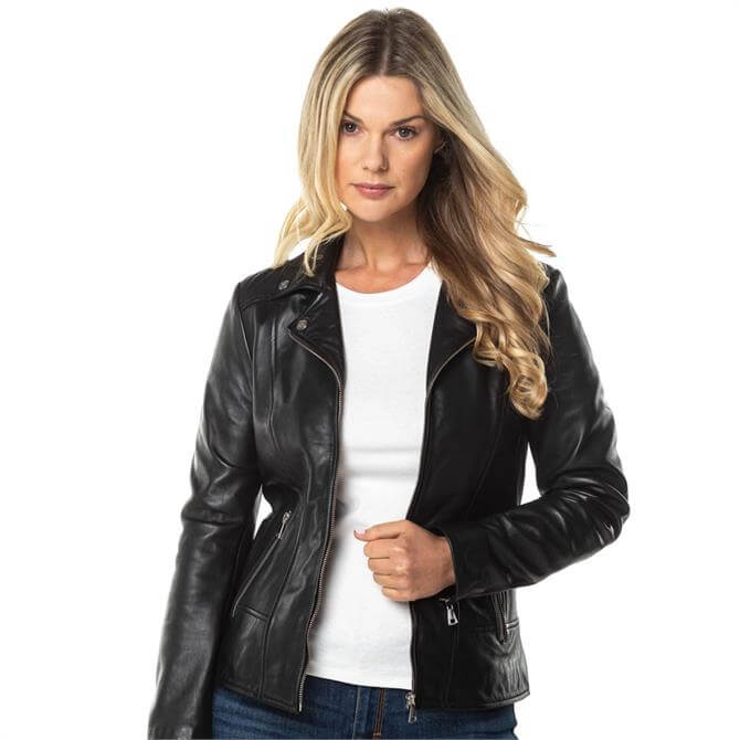 Lakeland Leather Newby Centre Zip Leather Biker Jacket in Black
