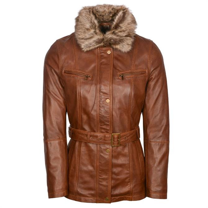 Lakeland Leather Tirril Belted Leather Coat in Tan