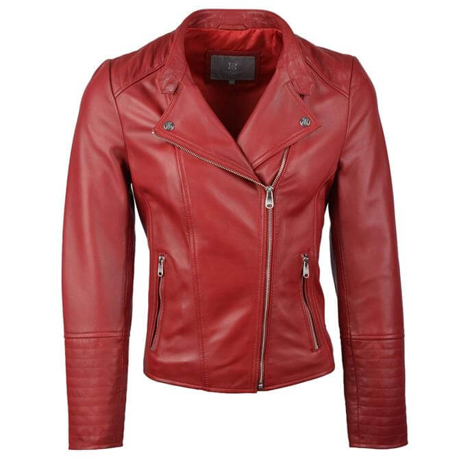 Lakeland Leather Toni Leather Biker Jacket in Red