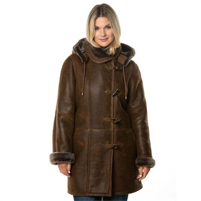 Lakeland Leather Parkgate Premium Duffle Sheepskin Coat in Tobacco Brown