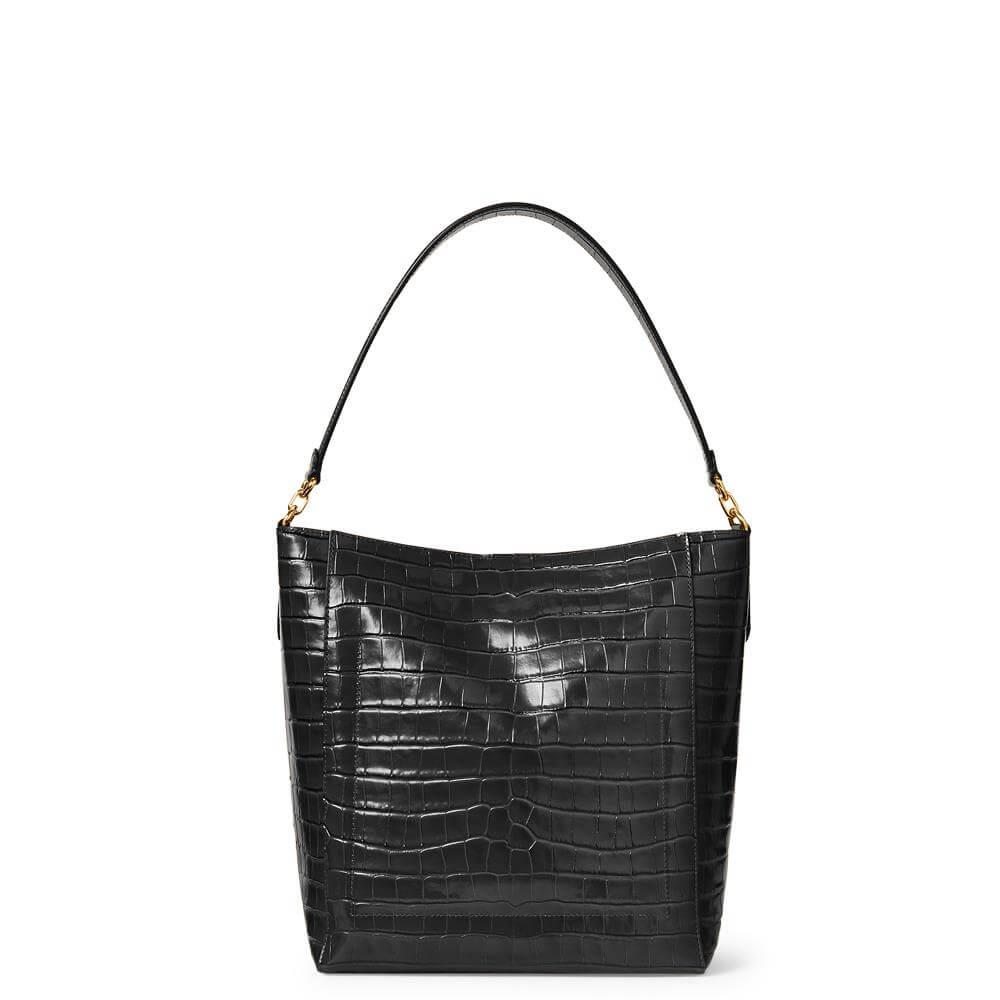Lauren Ralph Lauren Medium Leather Adley Shoulder Bag - black