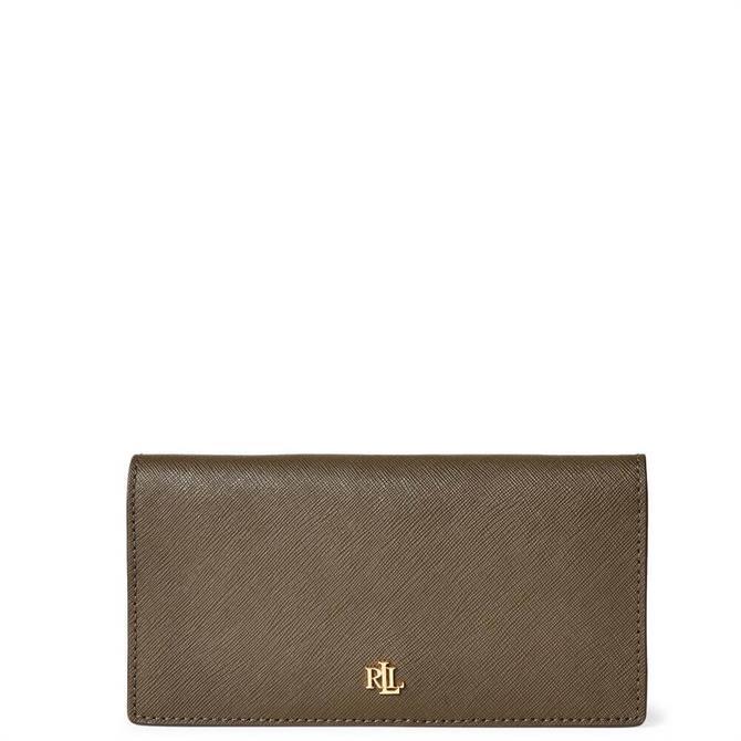 Lauren Ralph Lauren Deep Olive Saffiano Leather Slim Wallet