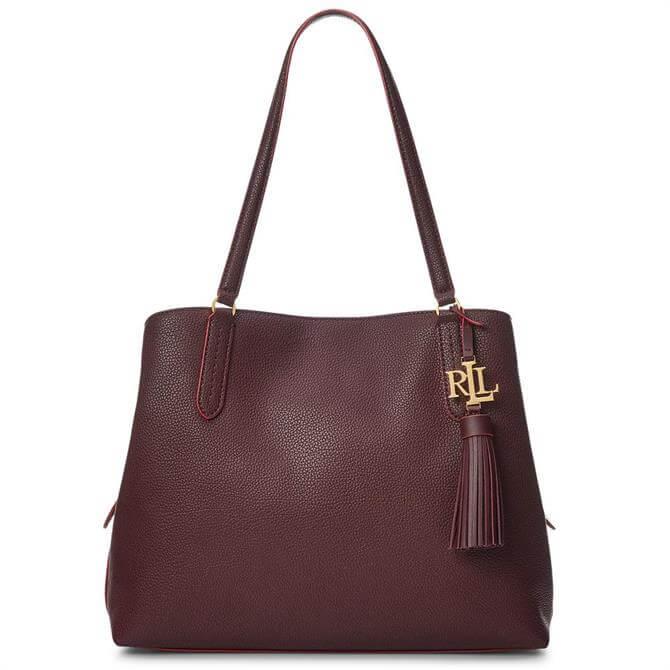 Lauren Ralph Lauren Leather Large Burgundy Quinn Shoulder Bag