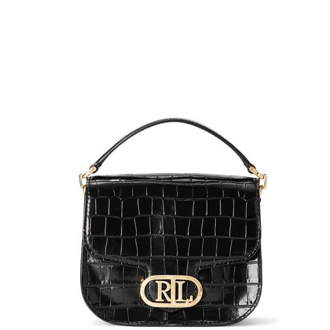 Lauren Ralph Lauren Black Metallic Leather Small Addie Crossbody Bag