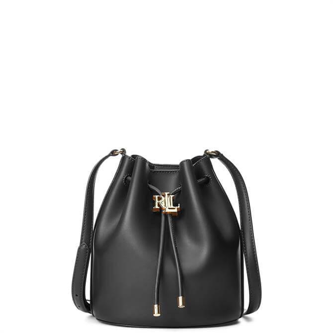 Lauren Ralph Lauren Black Leather Medium Andie Drawstring Bag