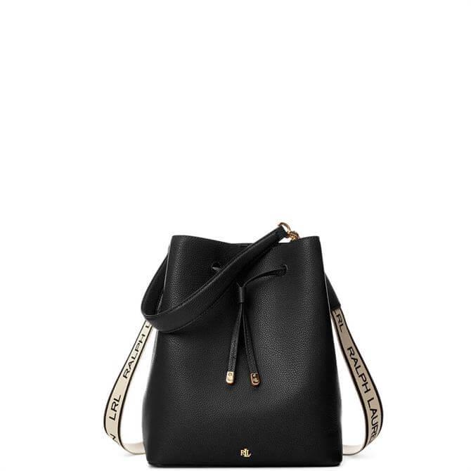 Lauren Ralph Lauren Black Large Logo Debby Drawstring Bag