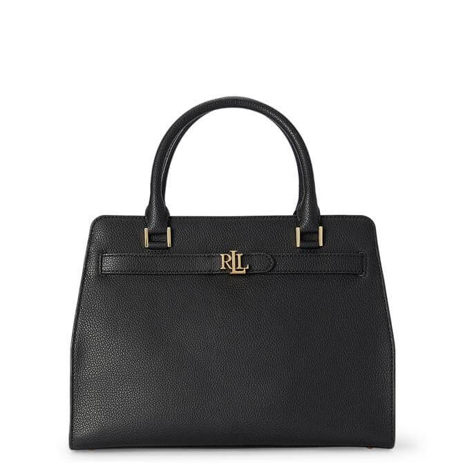 Lauren Ralph Lauren Black Leather Medium Fenwick Satchel