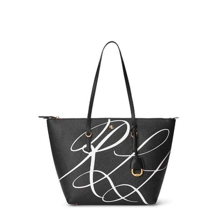 Lauren Ralph Lauren Black Faux-Leather Small Tote Bag