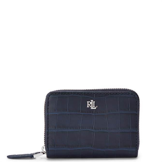 Lauren Ralph Lauren Embossed-Leather Navy Small Zip Wallet