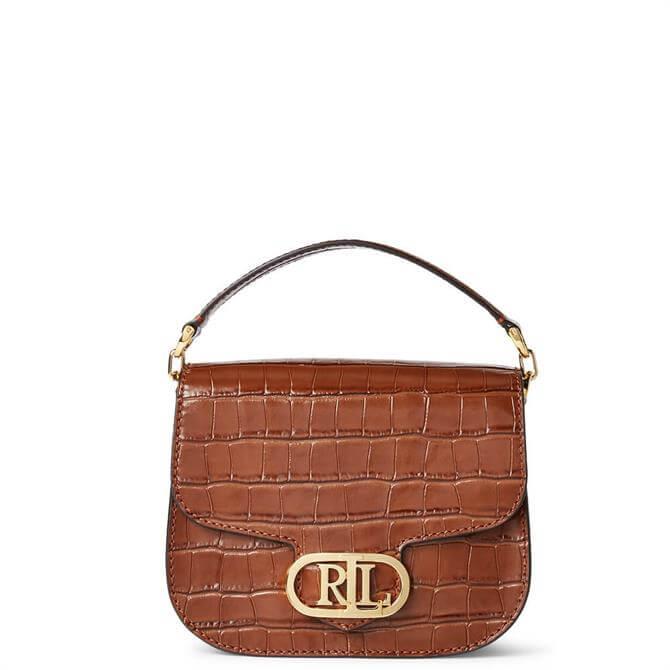 Lauren Ralph Lauren Deep Saddle Tan Metallic Leather Small Addie Crossbody Bag