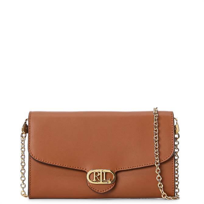 Lauren Ralph Lauren Tan Leather Adair Small Crossbody Bag